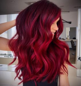 DEEP RED HAIR COLOUR at darren michael hair salon in rochdale